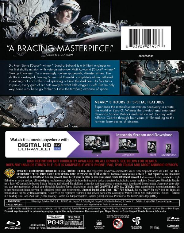 Back cover art to Gravity on Blu-ray Combo Pack.