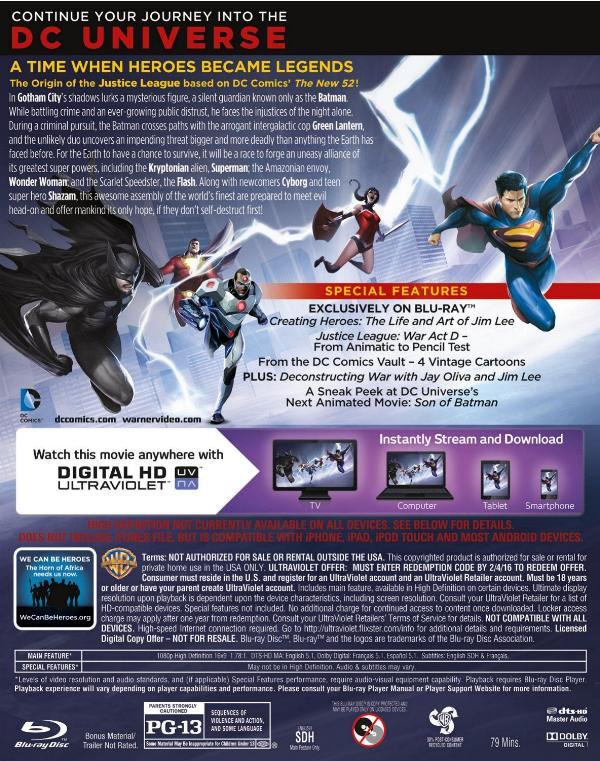 Back cover art to Justice League: War
