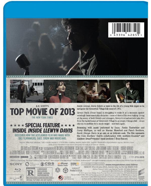 Back cover art to Inside Llewyn Davis Blu-ray edition.