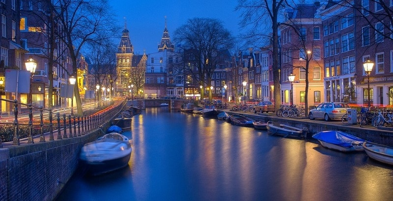 An Amsterdam canal at night