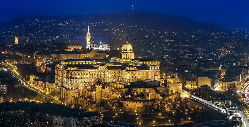 A view of Budapest at night
