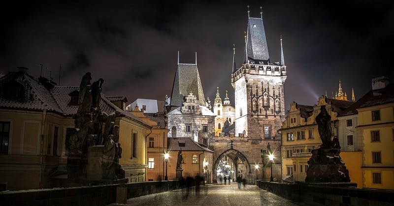 A night-time view of Prague and its castle