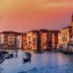 A view of Venice at sunset