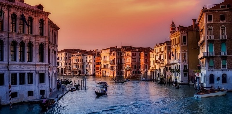 A canal in Venice at sunset