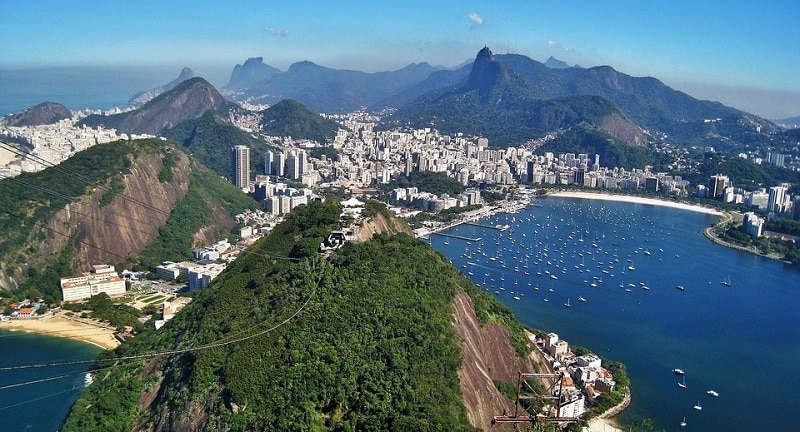 A view from Sugarloaf Mountain in Rio de Janeiro