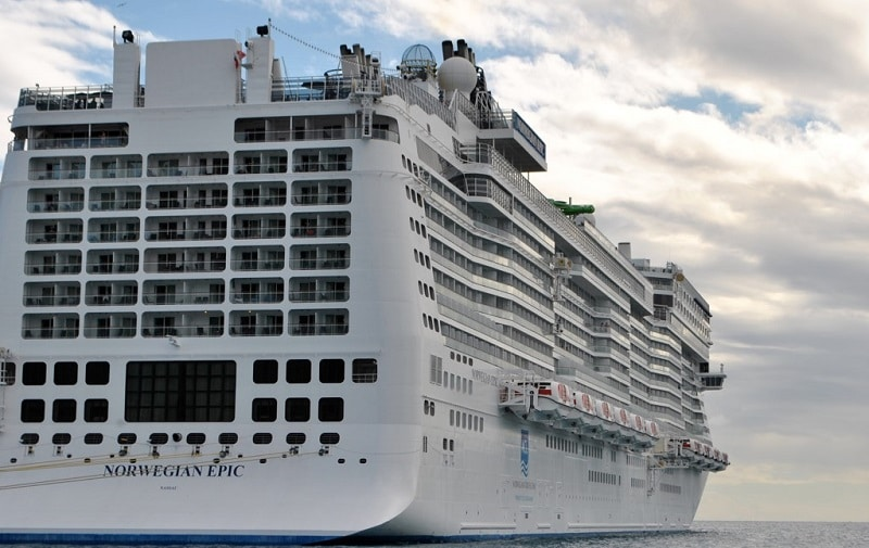 The Norwegian Epic viewed from the rear three-quarters