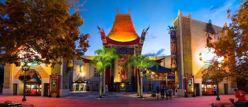 The historic Grauman's Chinese Theater seen in the evening