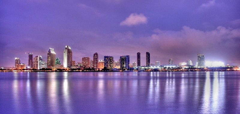 An evening view of the shoreline of San Diego