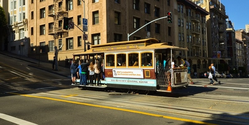 Busy San Francisco cable car