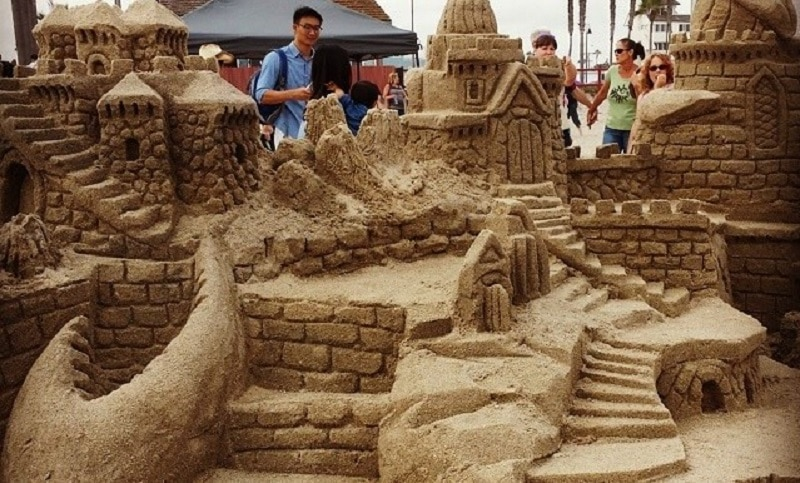 Huge sand castle on the beach in San Diego