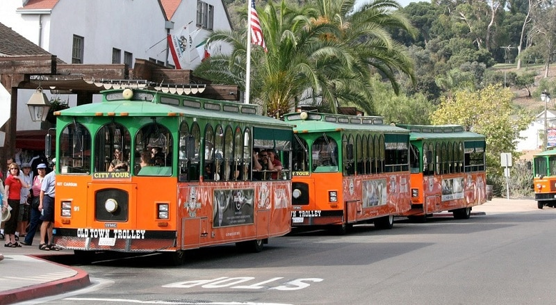 The trolley tour vehicles