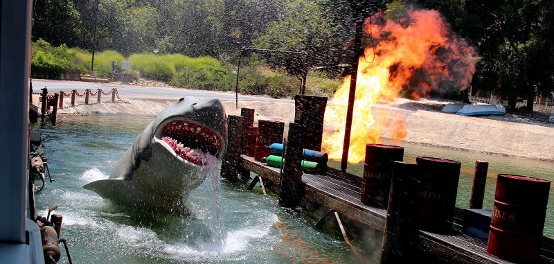 The mechanical shark at Universal Studios in action