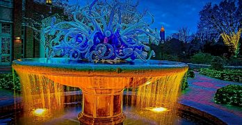 A beautiful water feature in the Atlanta Botanical Gardens at Christmas time