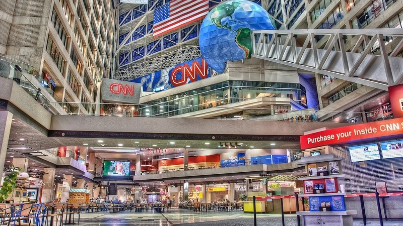 A view of the entrance to the CNN Center