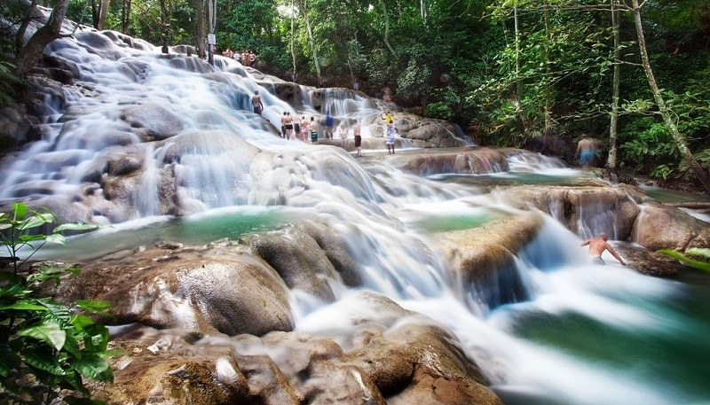 View of water cascading down Dunn's River Falls