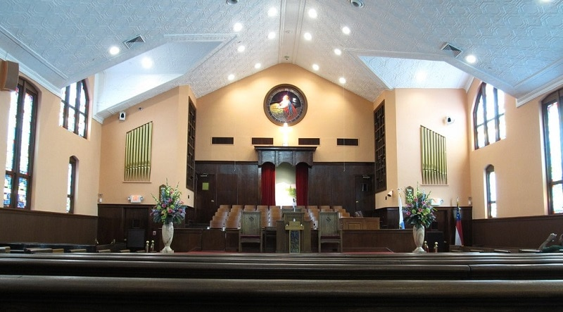 The interior of Ebenezer Baptist Church