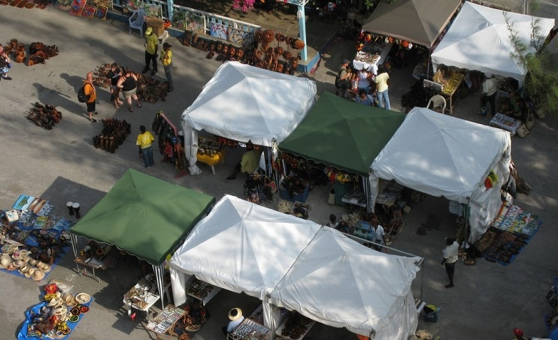 Aerial view of a Jamaican market
