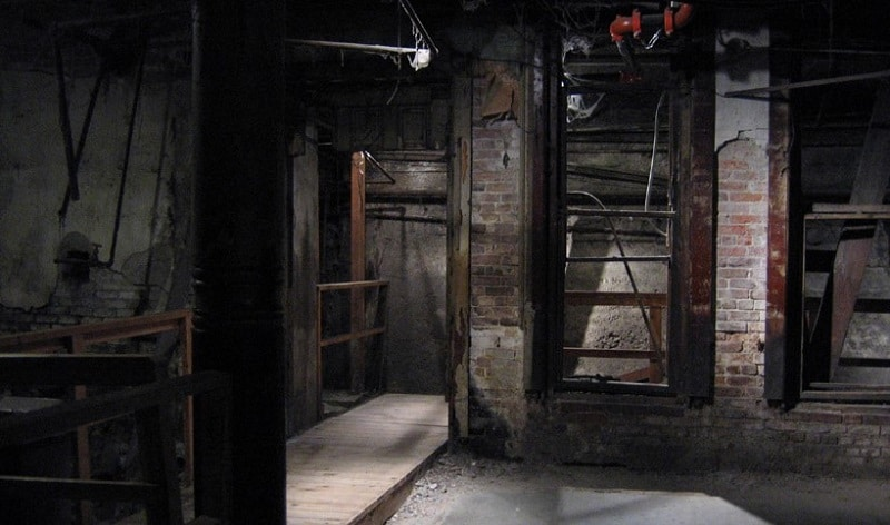 An empty room in Seattle's underground network of buildings