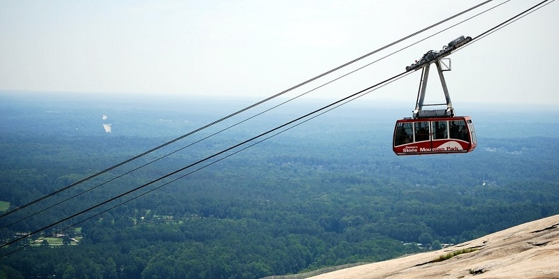 Skyride cable car at Stone Mountain Park