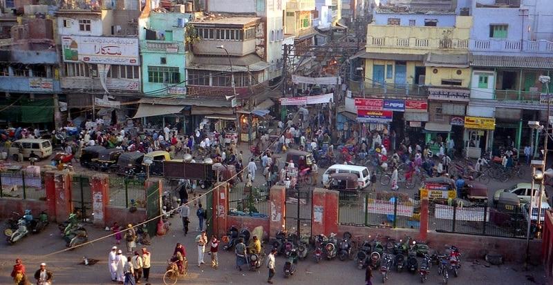 A busy street in Delhi