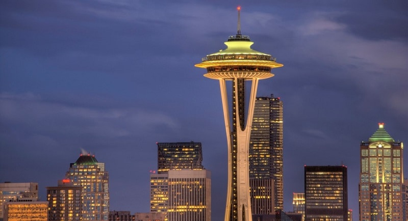 The Space Needle with the Seattle skyline behind it