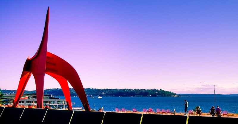 The Eagle, a huge red sculpture in the Olympic Sculpture Park