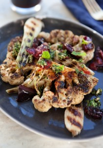 Togarashi grilled cauliflower with plums 1