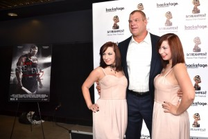"Jen Soska, Glen ""Kane"" Jacobs and Sylvia Soska  - 2014 Screamfest Horror Film Festival - ""See No Evil 2"" Premiere - Arrivals and Q&A - TCL Chinese Theatre - Hollywood, CA, USA  Photo is copyright by Jonathan  Shensa / PR Photos"