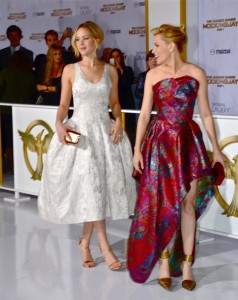 "Jennifer Lawrence and Elizabeth Banks - ""The Hunger Games: Mockingjay - Part 1"" Los Angeles Premiere - Arrivals  - Nokia Theatre L.A. Live - Los Angeles, CA, USA  Photo is copyright by Jonathan  Shensa / PR Photos"