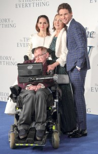 "Felicity Jones, Stephen Hawking, Jane Hawking and Eddie Redmayne - ""The Theory of Everything"" UK Premiere - Arrivals - Odeon Leicester Square - London, UK  Photo is copyright by Landmark / PR Photos"