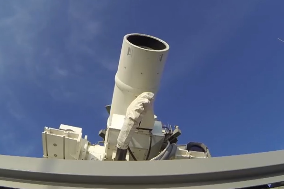 The laser weapon aboard a US navy ship.