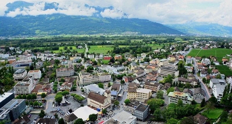 Aerial view of Liechtenstein