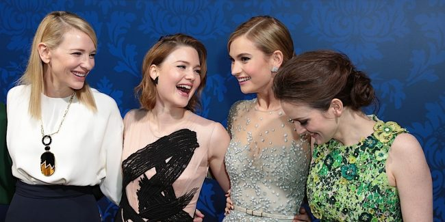 """Cate Blanchett, Holliday Grainger, Lily James, and Sophie McShera arrive as Disney Pictures presents the world premiere of """"Cinderella"""" at the El Capitan Theatre in Los Angeles, California on Sunday, March 1, 2015. (Photo: Alex J. Berliner/ ABImages)"""