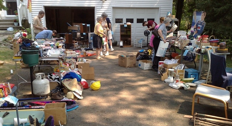 View of a typical garage sale