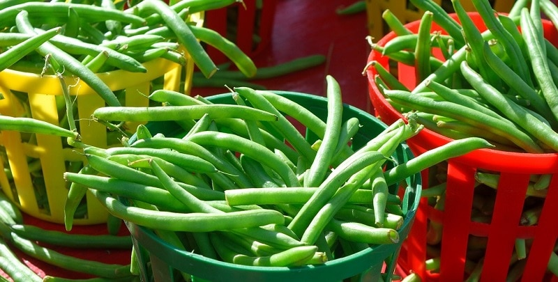 Green beans in baskets at a market