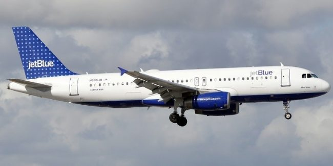 A JetBlue plane in mid-flight