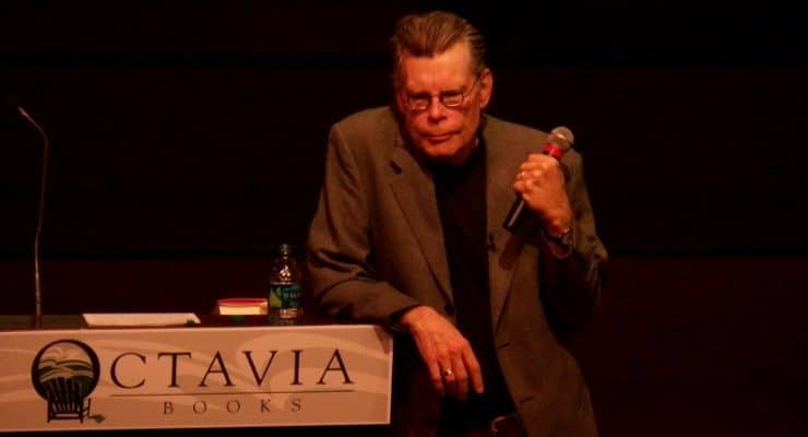 Stephen King speaking at an event