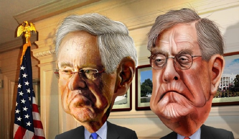 Caricature of the Koch brothers