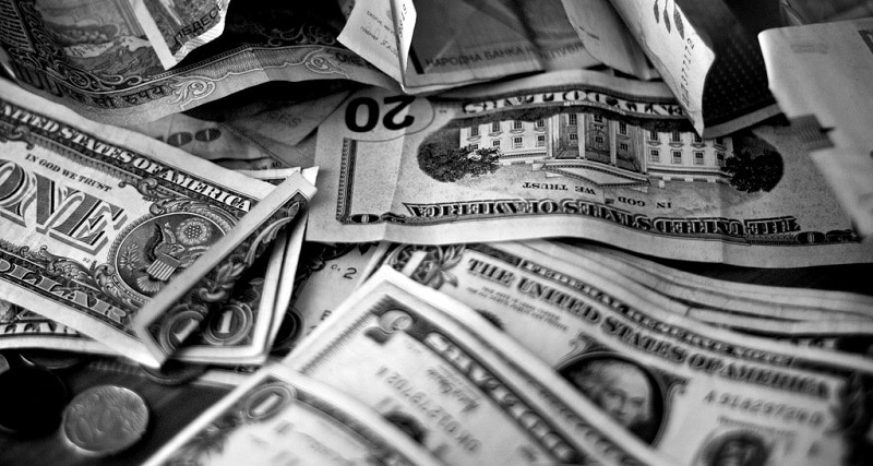 US dollars of various denominations