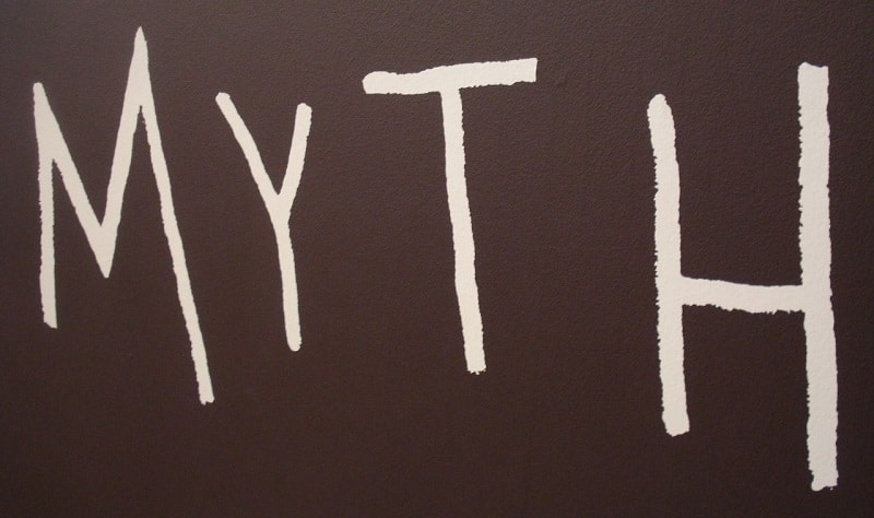 "The word ""myth"" written in white against a black background"