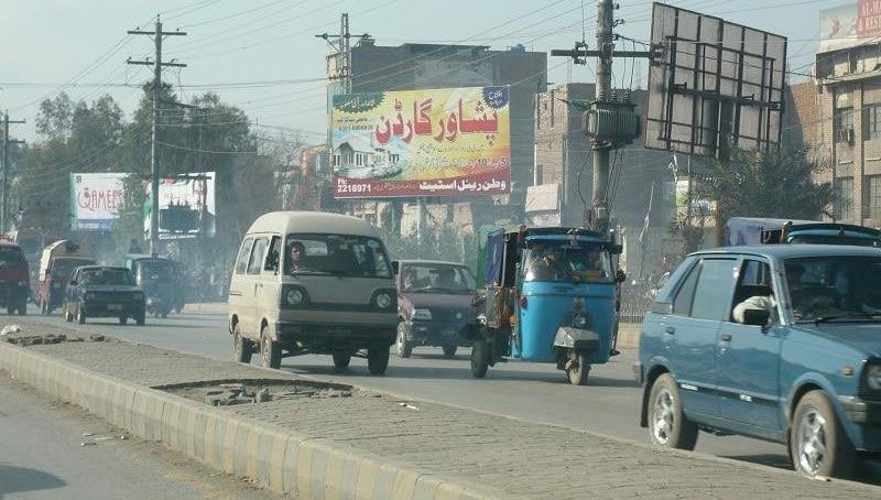 Smog on a street in Peshawar