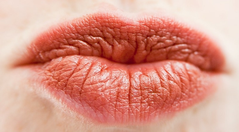 Close-up of puckered lips