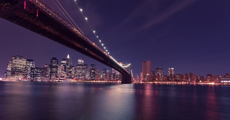View of New York from the Brooklyn Bridge