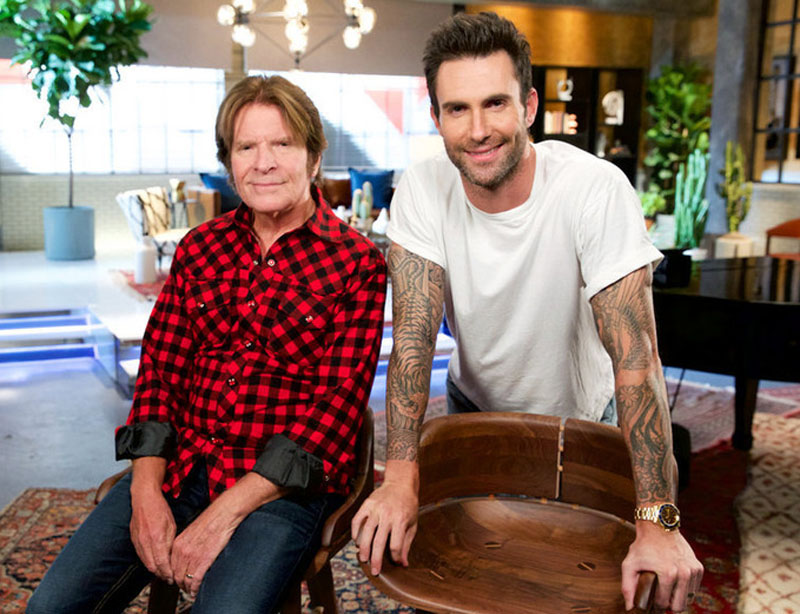"THE VOICE -- ""Team Adam Battle Reality"" -- Pictured: (l-r) John Fogerty, Adam Levine -- (Photo by: Tyler Golden/NBC)"