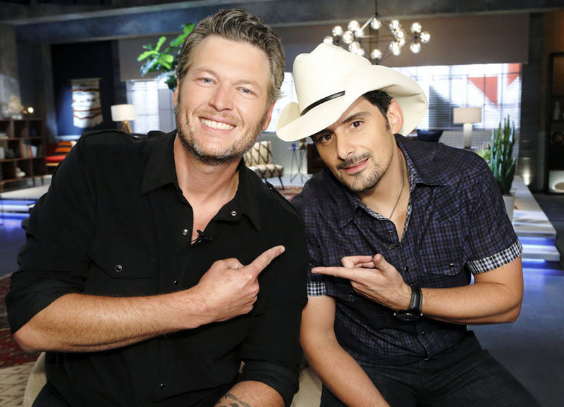 "THE VOICE -- ""Team Blake Battle Reality"" -- Pictured: (l-r) Blake Shelton, Brad Paisley -- (Photo by: Trae Patton/NBC)"