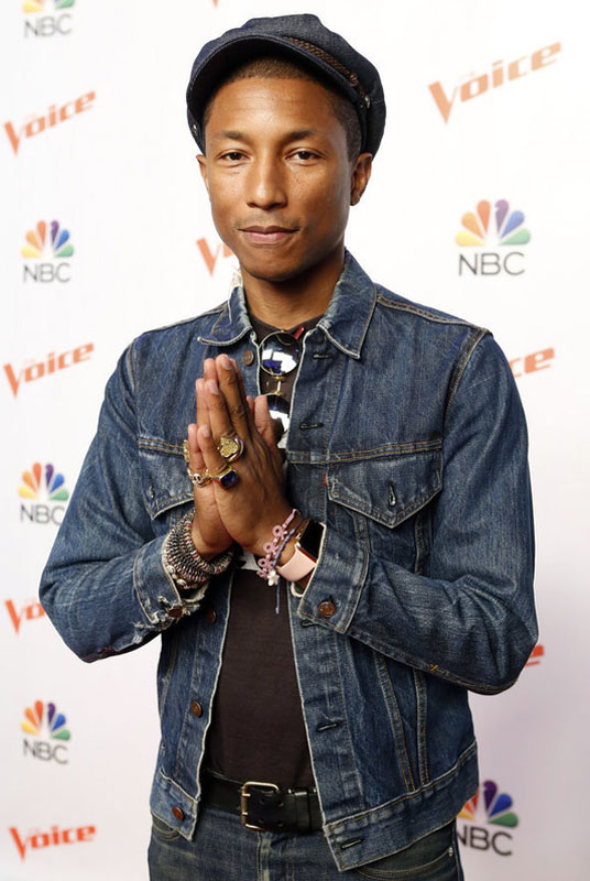 "THE VOICE -- ""Season 9 Press Junket"" -- Pictured: Pharrell Williams -- (Photo by: Trae Patton/NBC)"