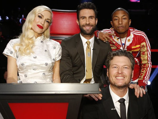"THE VOICE -- ""Live Show"" Episode 718B -- Pictured: (l-r) Gwen Stefani, Adam Levine, Pharrell Williams, Blake Shelton -- (Photo by: Trae Patton/NBC)"