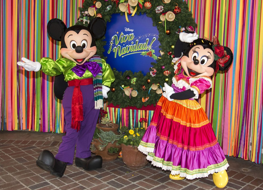 Mickey & Minnie Mouse join the party at ¡Disney Viva Navidad! at Disney California Adventure park, a celebration of Latino culture and seasonal traditions, all part of Holidays at the Disneyland Resort.  (Paul Hiffmeyer/Disneyland Resort)