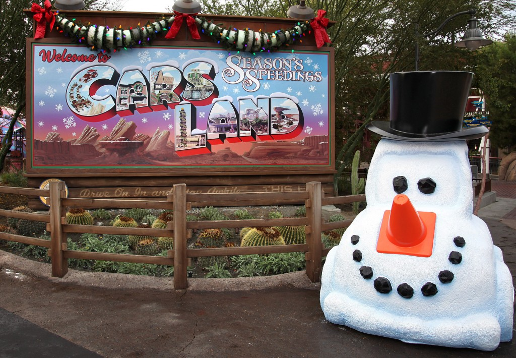 "SEASON'S SPEEDINGS (ANAHEIM, Calif.) - A whimsical ""snowcar"" greets guests as they enter Cars Land at Disney California Adventure park during Holidays at the Disneyland Resort, Nov. 13 through Jan. 6, 2016. In celebration of the season, Disneyland park transforms into a dazzling winter wonderland with festive décor, holiday-themed treats and attractions transformed for the season of ""it's a small world"" Holiday and Haunted Mansion Holiday. This year, the Diamond Celebration adds even more sparkle to the exciting entertainment, which includes ""A Christmas Fantasy"" parade, ""Disney ¡Viva Navidad!,"" ""Paint the Night"" and the ""Disneyland Forever"" fireworks spectacular. (Paul Hiffmeyer/Disneyland Resort)"