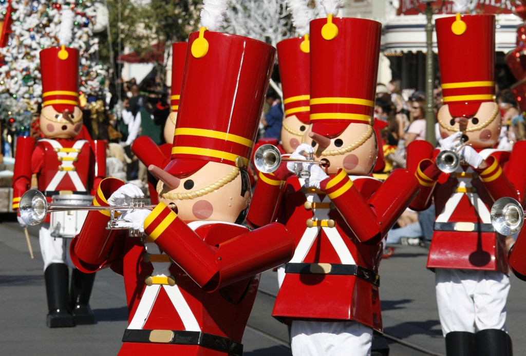 "A CHRISTMAS FANTASY PARADE (ANAHEIM, Calif.) – Toy soldiers celebrate the season as they march down Main Street, U.S.A. in ""A Christmas Fantasy"" parade during Holidays at the Disneyland Resort, returning Nov. 13 through Jan. 6, 2016. In celebration of the season, Disneyland park transforms into a dazzling winter wonderland with festive décor, holiday-themed treats and attractions transformed for the season of ""it's a small world"" Holiday and Haunted Mansion Holiday. This year, the Diamond Celebration adds even more sparkle to the exciting entertainment, which includes ""A Christmas Fantasy"" parade, ""Disney ¡Viva Navidad!,"" ""Paint the Night"" and the ""Disneyland Forever"" fireworks spectacular. (Paul Hiffmeyer/Disneyland Resort)"